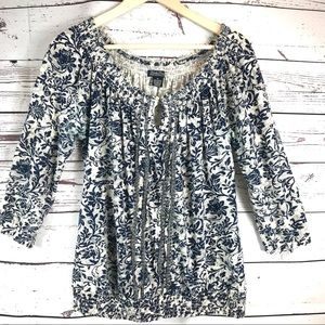 Lucky Brand Navy Floral Boho Peasant Top